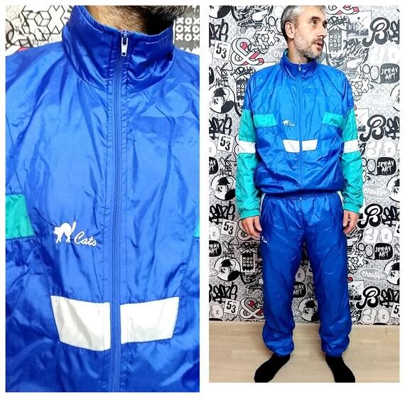 blue track suit XL Mens track suit 90s colorful sp