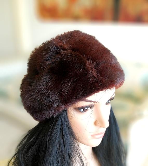 Mink Fur Hat brown fur hat winter hat warm hat win