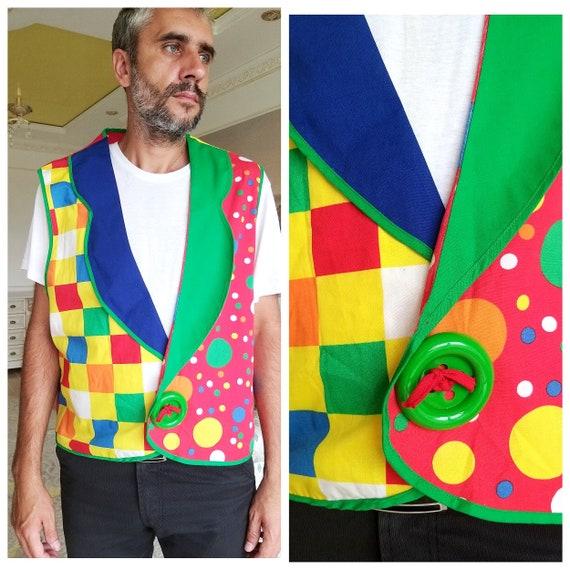 clown Vest Rainbow Vest  XL clown Costume clown Cl