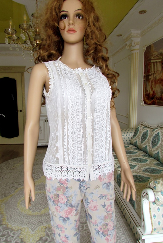 lace blouse white blouse Victorian Clothing Victo… - image 7