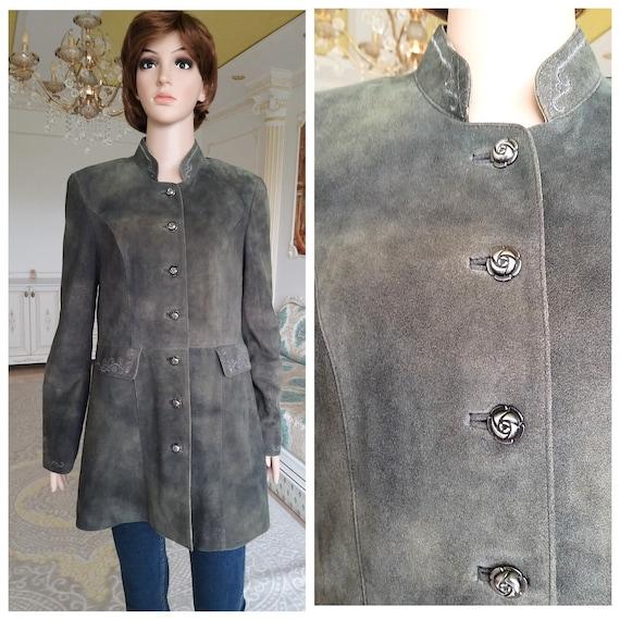 womens Leather blazer suede blazer retro military