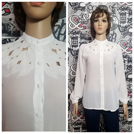80s Victorian Blouse M Vintage Victorian Clothing