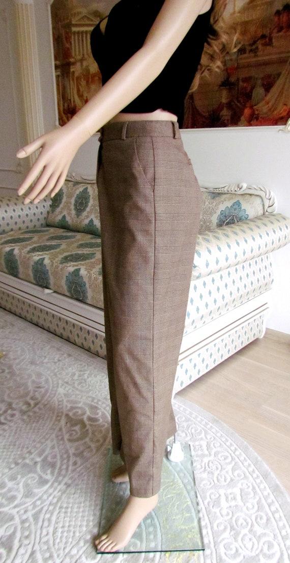 boho  pants Chino pants 80s brown Plaid pants sui… - image 7