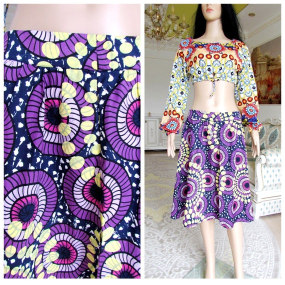 african skirt PURPLE cotton skirt African Clothing