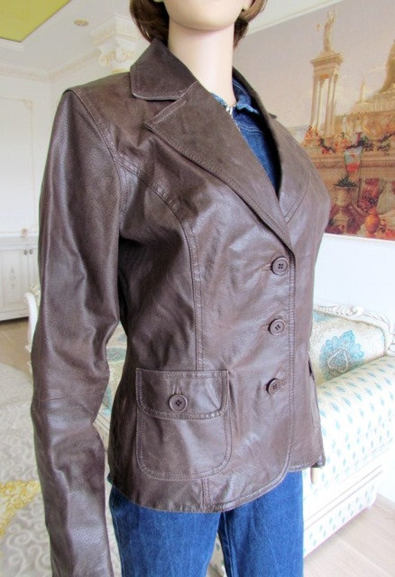 womens Leather blazer 70s retro blazer womens Lea… - image 5