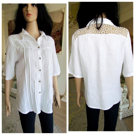 90s White LInen Blouse Size Medium Ann Taylor Collared Blouse Classic Minimalist