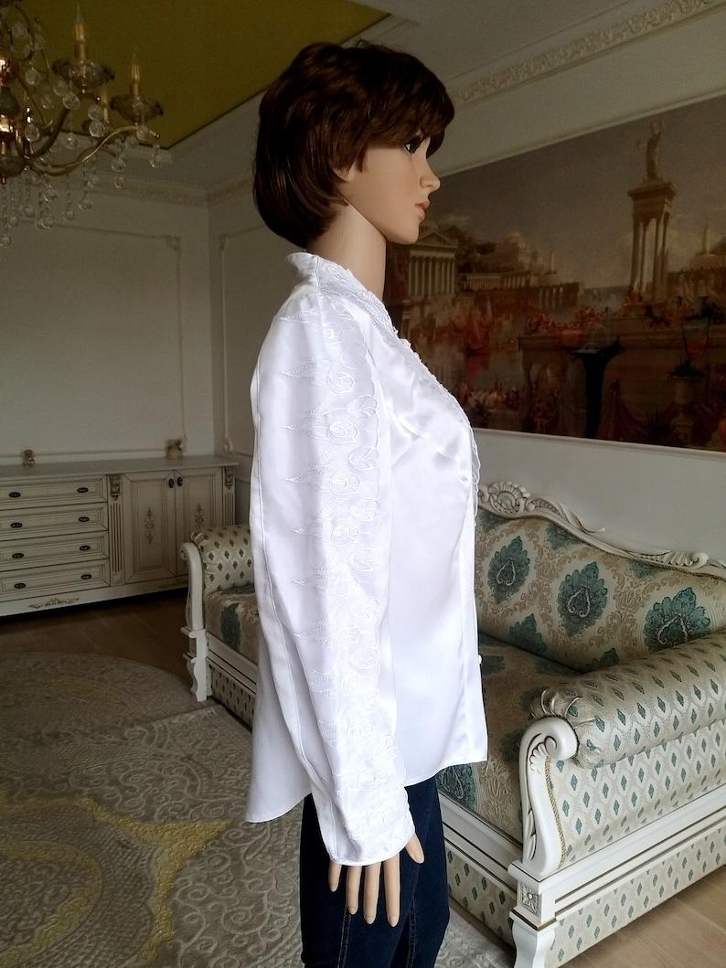 80s Victorian Blouse L Vintage Victorian Clothing Victorian style Victorian shirt White Blouse womens blouse Edwardian shirt  lace Blouse