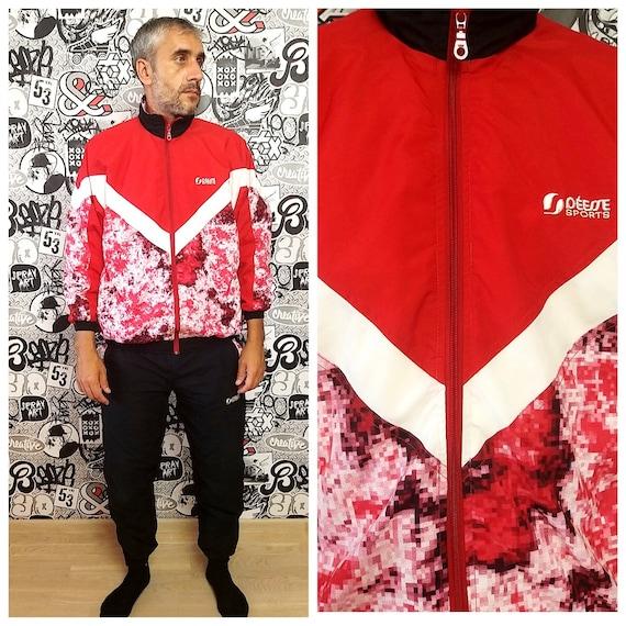 red black track suit M unisex track suit 90s colo… - image 1
