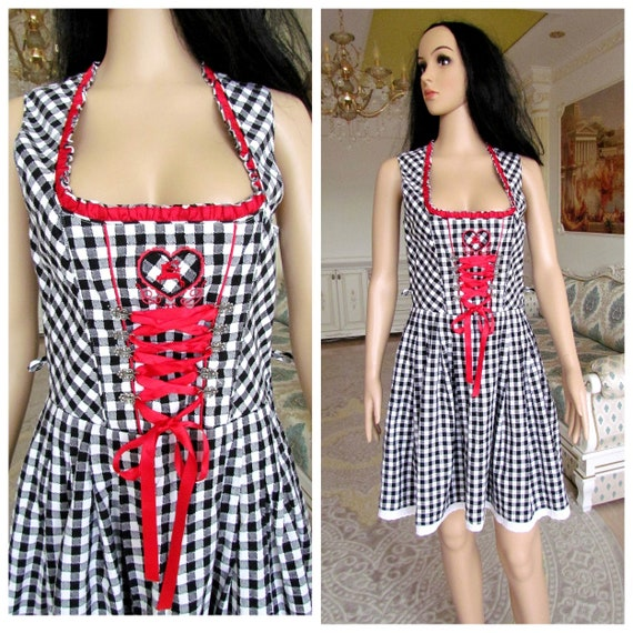 black white Gingham Dirndl Dress 38 Oktoberfest Cl
