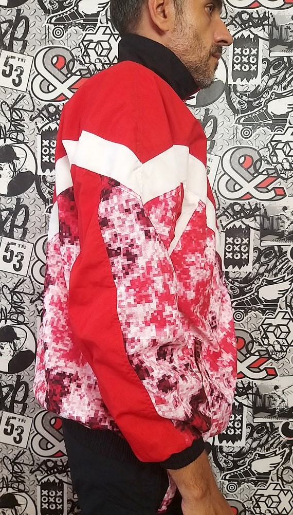 red black track suit M unisex track suit 90s colo… - image 3