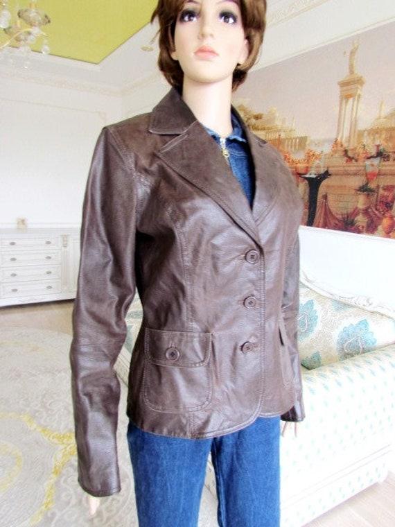 womens Leather blazer 70s retro blazer womens Lea… - image 2