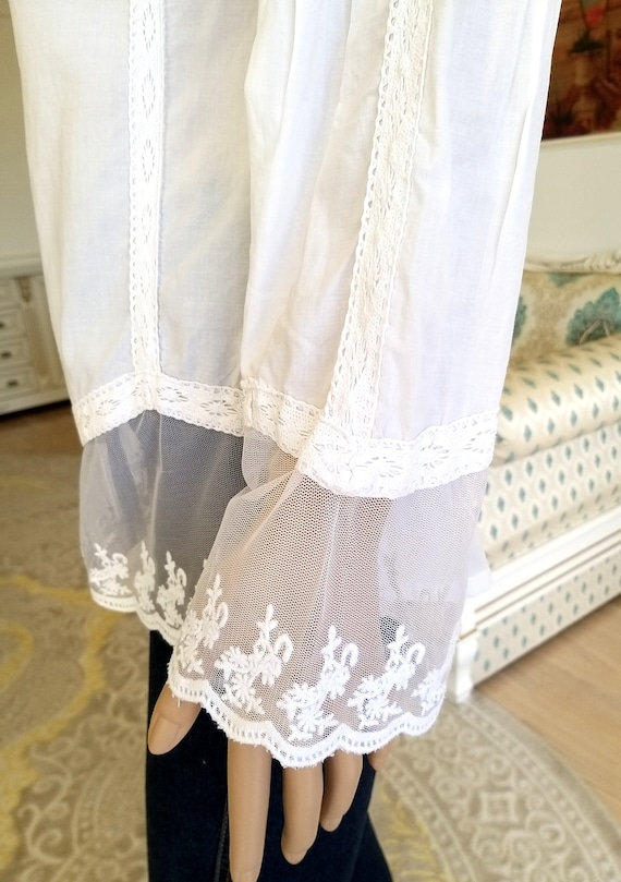 80s embroidery white blouse Victorian Clothing Vi… - image 5