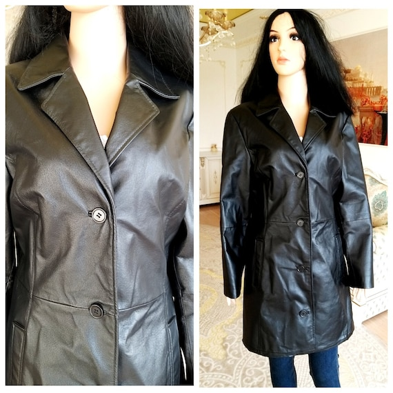 womens Leather Clothing black leather coat womens