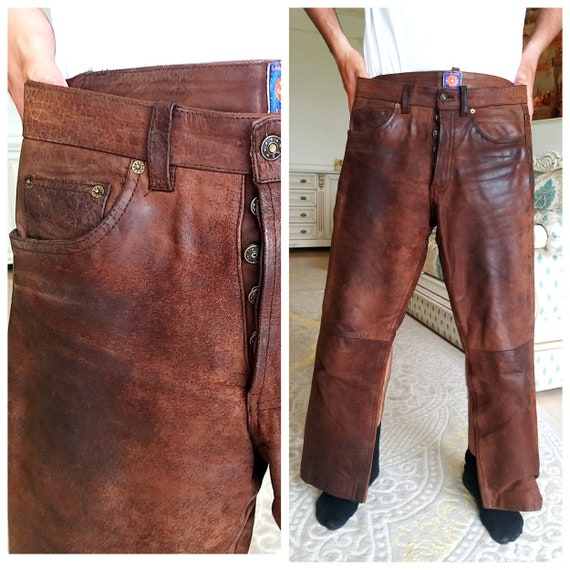 Mens Leather pants M Leather Clothing Western Retr