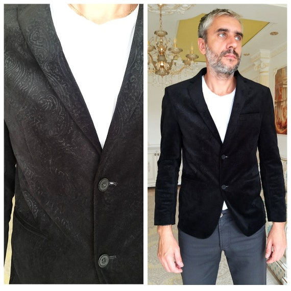 Mens blazer paisley print black velvet blazer mens