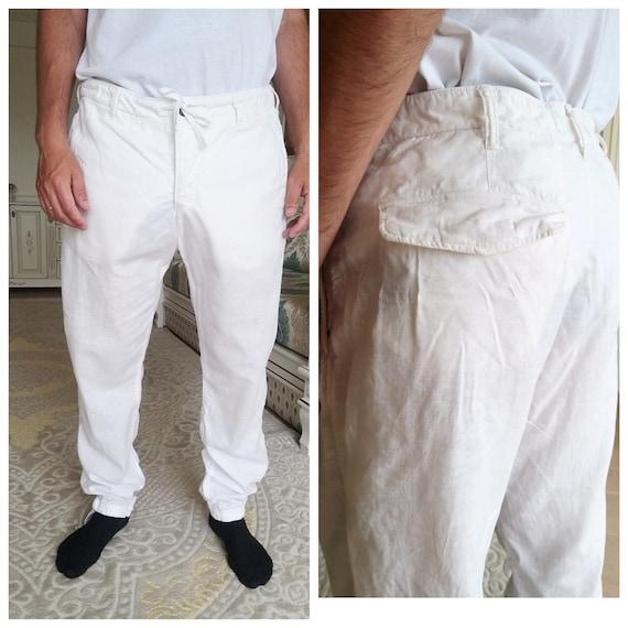 Mens White linen Pants Mens linen trousers Mens li