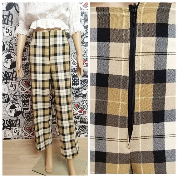brown Plaid Pants womens Plaid Pants Retro Pants w