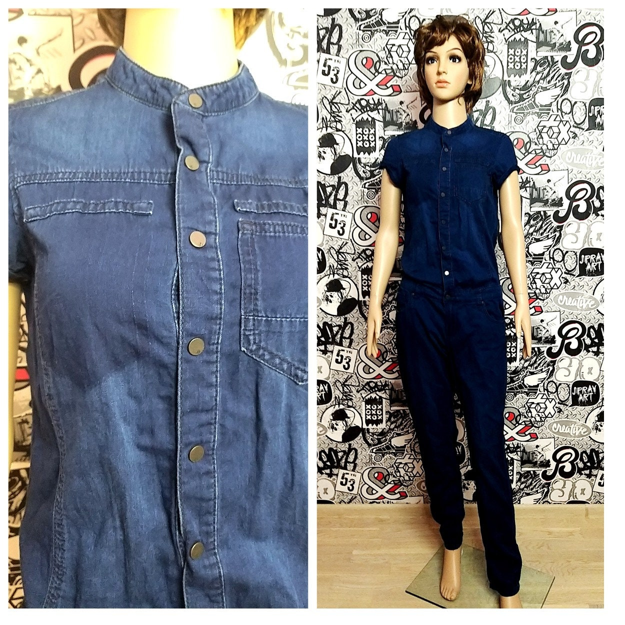 Vintage Overalls & Jumpsuits Womens Overall Pants Denim Overall S Vintage Jumpsuit Pants Jean Overalls Retro Coverall Grunge Jeans Coveralls $20.00 AT vintagedancer.com