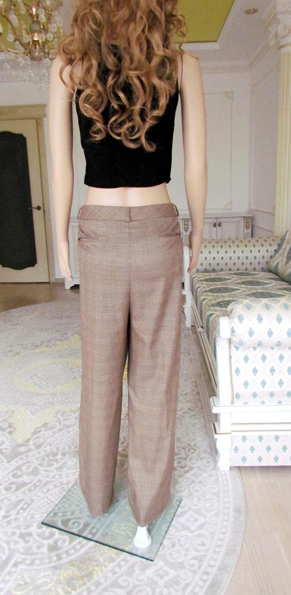boho  pants Chino pants 80s brown Plaid pants sui… - image 3