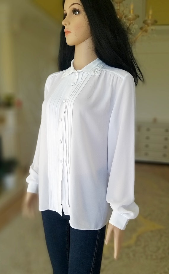 pleated white blouse Victorian Clothing Victorian… - image 4