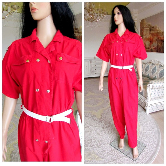 RED Jumpsuit workwear womens Coveralls M One Piece