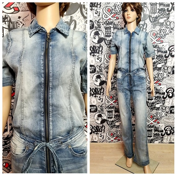 womens overall pants Denim Overall S-M vintage Den