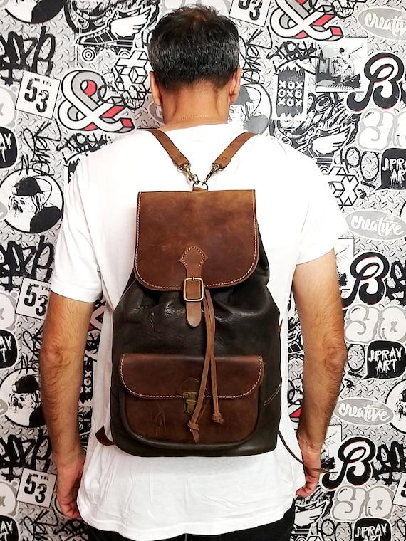 Brown leather backpack Vintage Canvas Backpack bag