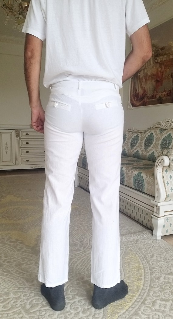 Mens White linen Pants Mens linen trousers Mens l… - image 8