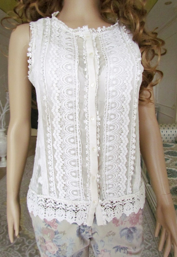 lace blouse white blouse Victorian Clothing Victo… - image 6
