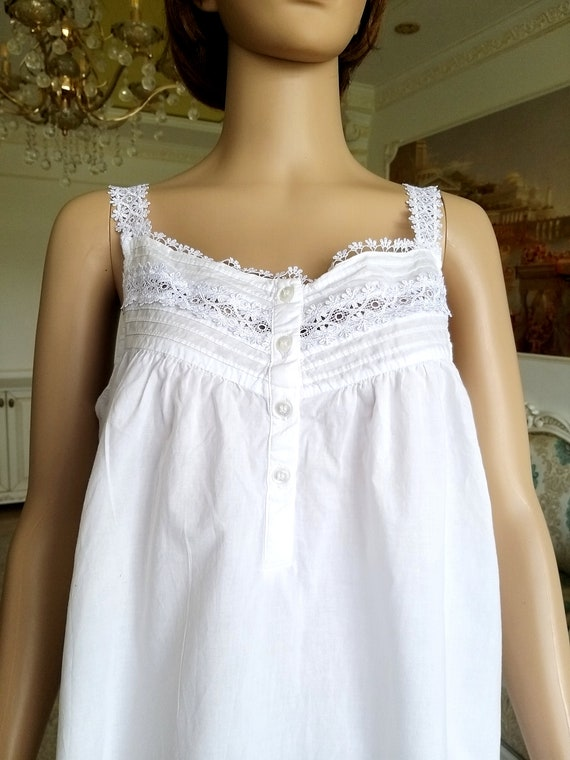 60s Antique Nightshirt vintage cotton Nightshirt … - image 2