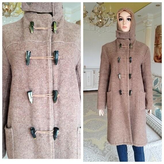 womens coat hooded coat Brown coat Vintage oversiz