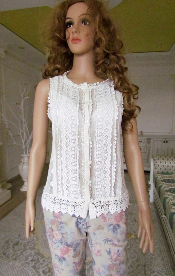 lace blouse white blouse Victorian Clothing Victo… - image 9