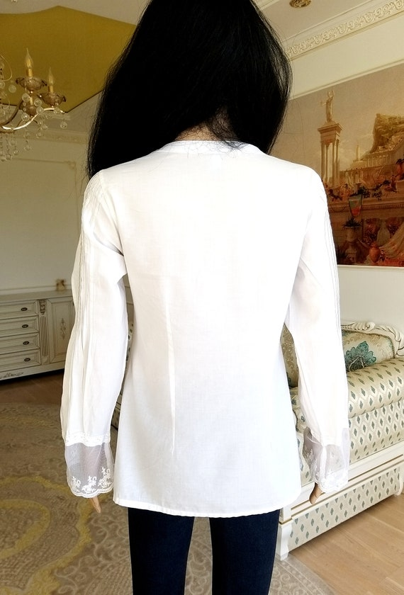 80s embroidery white blouse Victorian Clothing Vi… - image 3