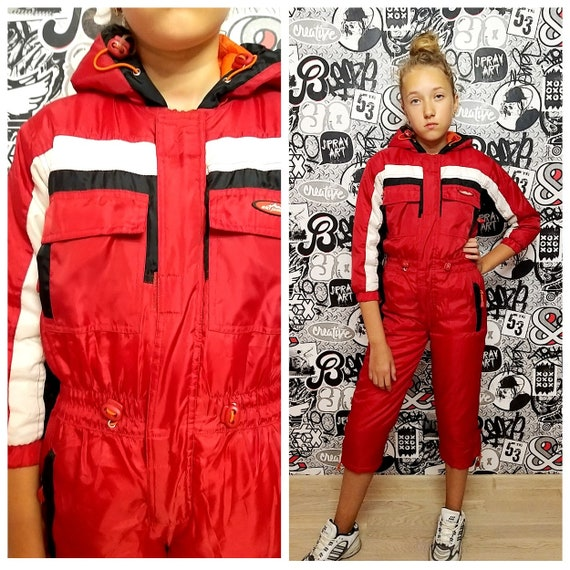 girl ski suit 90s ski suit RED ski suit Kids Ski s