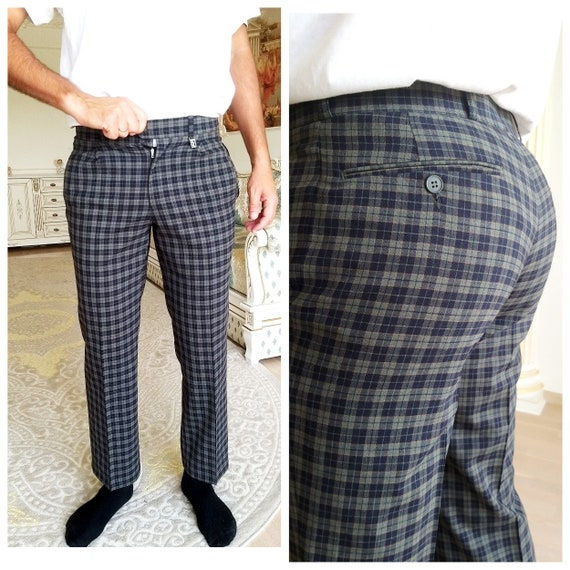 BLUE Plaid Pants M  Retro Pants Mens Pants Checker