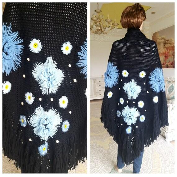granny square scarf granny square shawl Vintage Cr