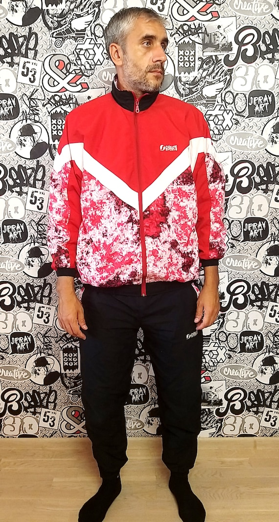 red black track suit M unisex track suit 90s colo… - image 2