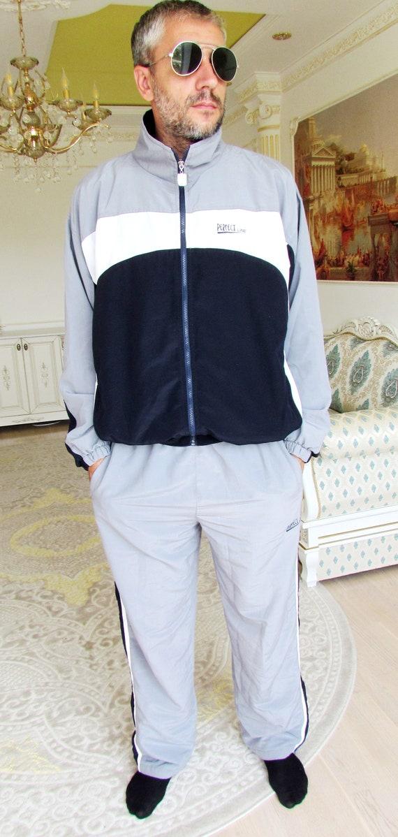 Mens sport suit vintage gray track suit Mens trac… - image 3