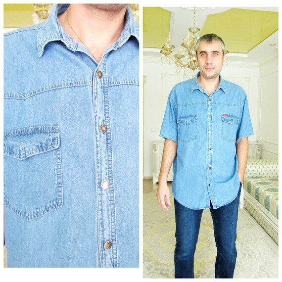 mens 90s Clothing mens shirt Vintage mens denim shirt jeans shirt Cowboy  Shirt Button Up Shirt western shirt Size 2X