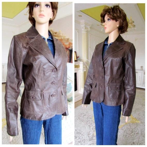 womens Leather blazer 70s retro blazer womens Lea… - image 1