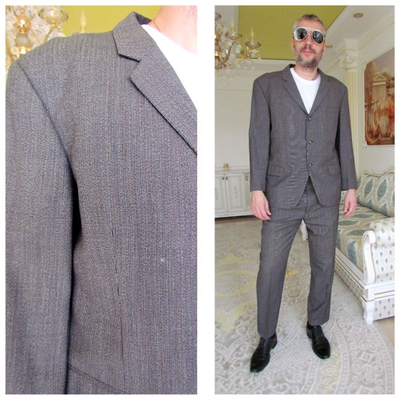 Mens suit Vintage Gray Mens suit retro suit Two Pi