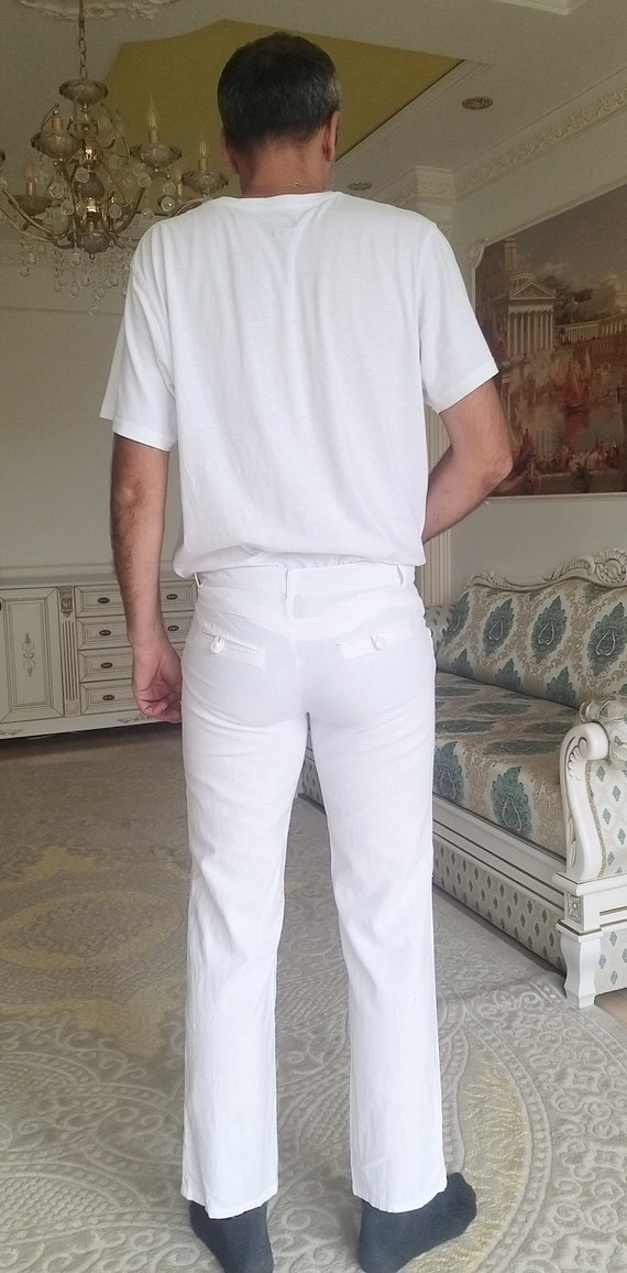Mens White linen Pants Mens linen trousers Mens l… - image 7