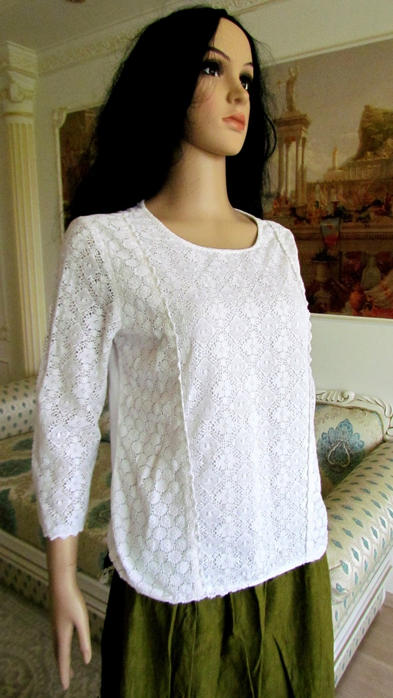 womens WHITE Blouse  womens blouse Victorian Clot… - image 4