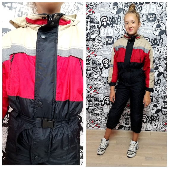 90s ski suit RED ski suit Kids Ski suit mountain c