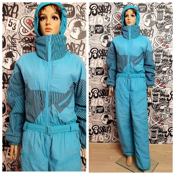 blue Ski Wear blue ski suit  Warm Clothing Vintage