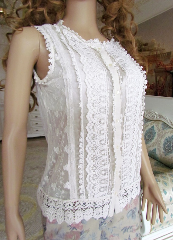 lace blouse white blouse Victorian Clothing Victo… - image 8
