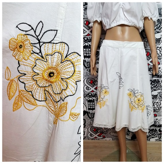 White embroidered skirt womens skirt White skirt F