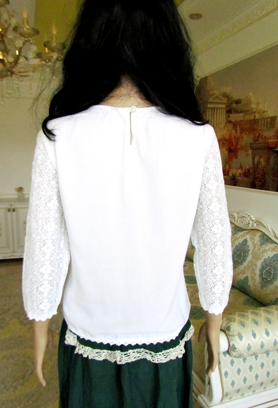 womens WHITE Blouse  womens blouse Victorian Clot… - image 8