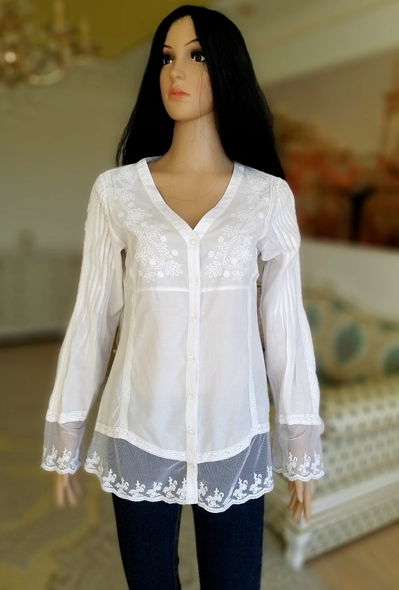 80s embroidery white blouse Victorian Clothing Vi… - image 2