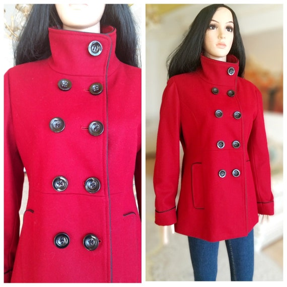 burgundy coat Double Breasted coat women coat wool